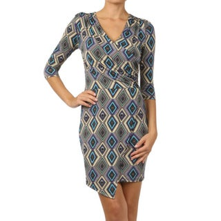 Tabeez Diamond Print Stretch Dress