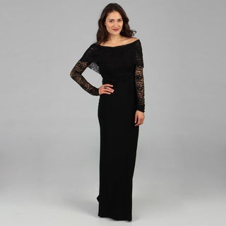 Tabeez Women&#39;s Black Lace Top Gown