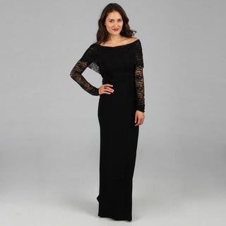 Tabeez Women's Black Lace Top Gown