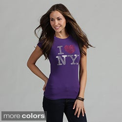Women's Rhinestone Embellished 'I Love NY' Tee Shirt