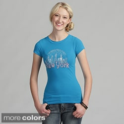 Women's Rhinestone Embellished 'Snow Globe of NYC' Tee Shirt