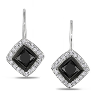 Miadora 10k White Gold 1ct TDW Black and White Diamond Earrings (H-I, I2-I3)