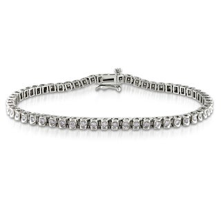 Miadora 14k White Gold 1ct TDW Diamond Tennis Bracelet (I-J, I2-I3)