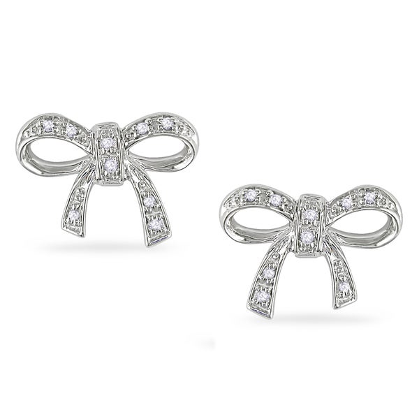 Haylee Jewels Sterling Silver Diamond Accent Bow Earrings
