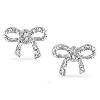 M by Miadora Sterling Silver Diamond Accent Bow Earrings