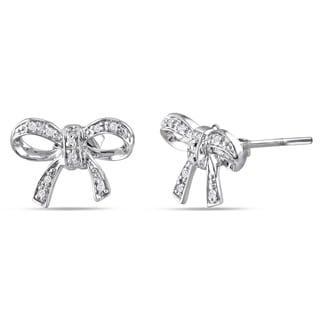 Miadora Sterling Silver Diamond Accent Bow Earrings