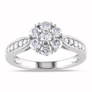 Miadora 14k White Gold 1ct TDW Diamond Cluster Ring (G-H, I1-I2)