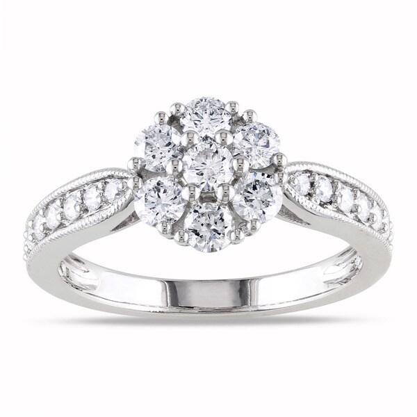 Miadora 14k White Gold 1ct TDW Diamond Cluster Ring (G-H, I1-I2)