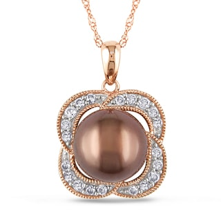 Miadora 10k Gold Tahitian Pearl and 1/4ct TDW Diamond Necklace (H-I, I2-I3)