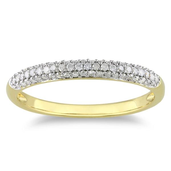 Yellow Rhodiumplated Silver 1/4ct TDW Diamond Ring (H-I, I2-I3)