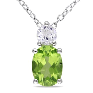 Miadora Sterling Silver Peridot and Created White Sapphire Necklace