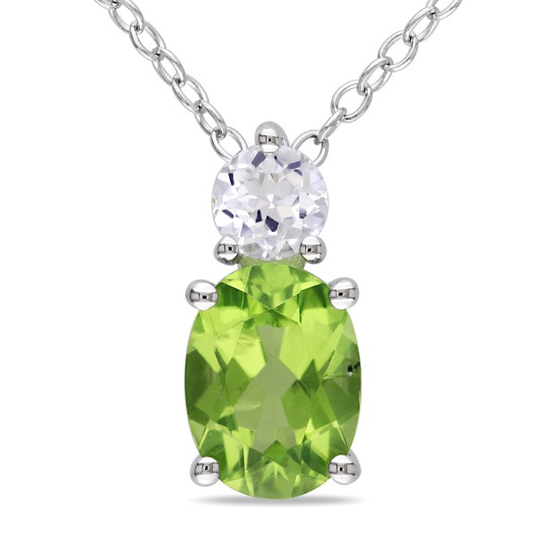 M by Miadora Sterling Silver Peridot and Created White Sapphire Necklace