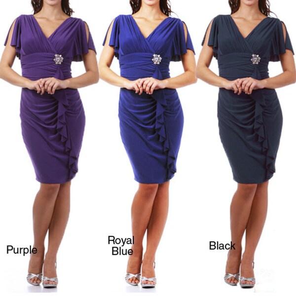 Tabeez Women's Jersey Knit Rhinestone Brooch Ruffle Dress