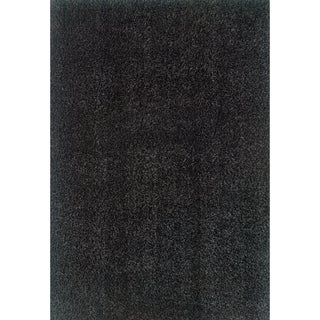 Indoor Black Polypropylene Shag Area Rug