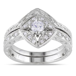 Miadora Silver Created Sapphire and 1/10ct TDW Diamond Bridal Ring Set (G-H, I1-I2)