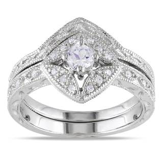 Miadora Silver Created Sapphire and 1/10ct TDW Diamond Bridal Ring Set (G-H, I1-I2) with Bonus Earrings