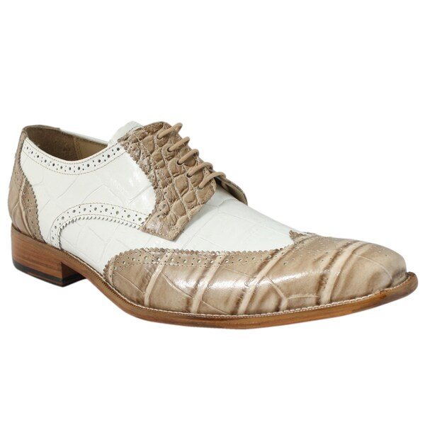 Giorgio Brutini Men's Beige/ White Leather Oxfords
