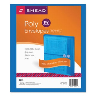 Smead Blue Poly String & Button Booklet Envelopes (Pack of 3)