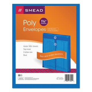 Smead Blue Poly String & Button Envelope (Pack of 3)