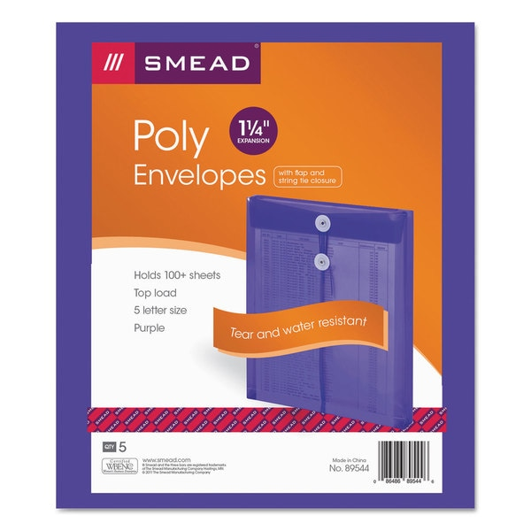 Smead Purple Poly String & Button Envelope (Pack of 3)