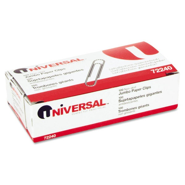 Universal Nonskid Paper Clips Wire Jumbo Silver (Pack of 20)