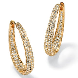 Ultimate CZ 14k Gold-plated Cubic Zirconia Oval Inside-Out Huggie Hoop Earrings