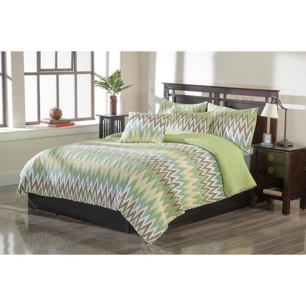 Malia Green 3-piece Quilt Set