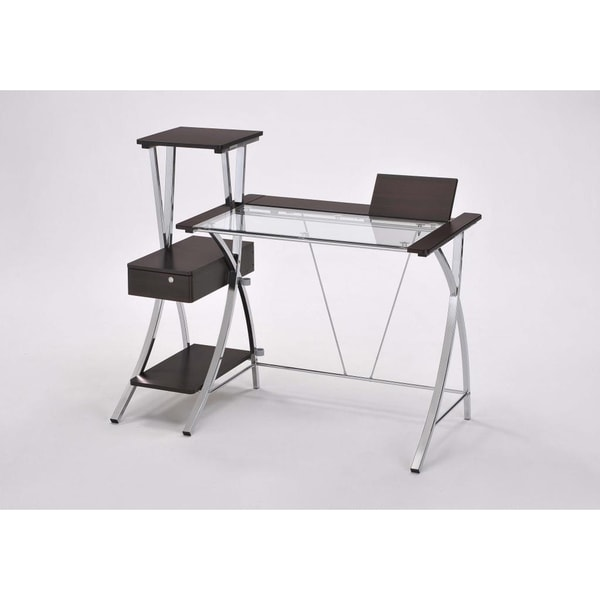 Modern Dark Natural Brown 5 6 Foot Computer Desk Set