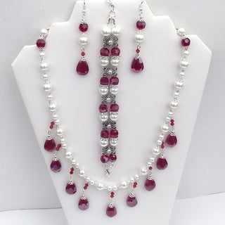 Light Siam Red Teardrop Wedding Jewelry Set