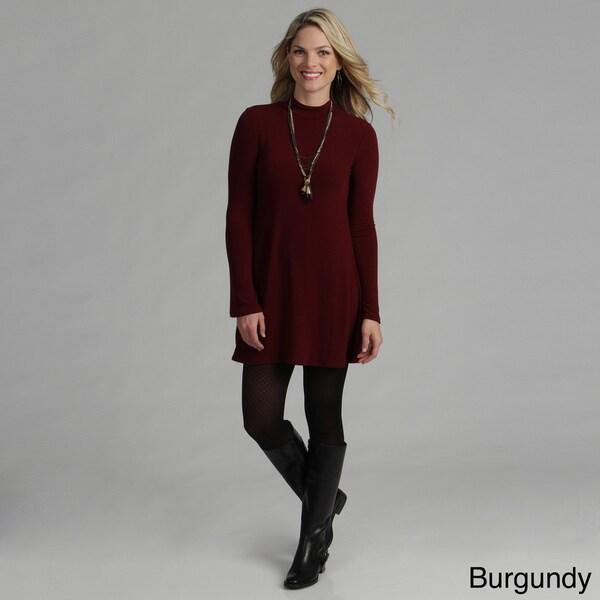 Tabeez High Neck Long Sleeve Sweater Dress