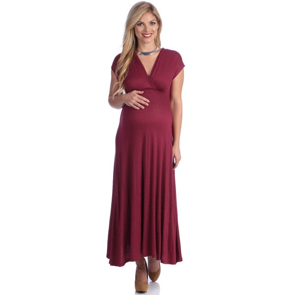 24/7 Comfort Apparel Women's Maternity Faux Wrap Maxi Dress