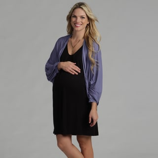24/7 Comfort Apparel Women's Maternity Blue Dolman Sleeve Cardigan
