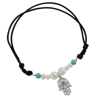 Journee Collection Silver Faux Pearl, Faux Turquoise and Cubic Zirconia Hamsa Bracelet