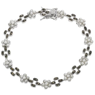 Tressa Silver Cubic Zirconia and Simulated Pearl Tennis Bracelet