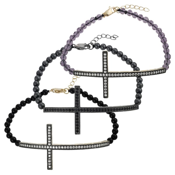 Journee Collection Sterling Silver Bead Sideways Holy Cross Bracelet
