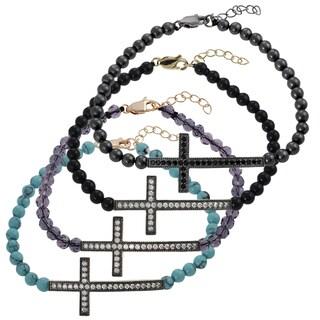 Journee Collection  Sterling Silver Bead Sideways Holy Cross Bracelet