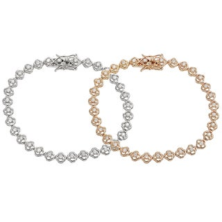 Tressa Silver or Rose Goldplated Cubic Zirconia Tennis Bracelet