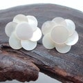 Infinity Layered White Roses Troca Shells Stud Earrings (Philippines)