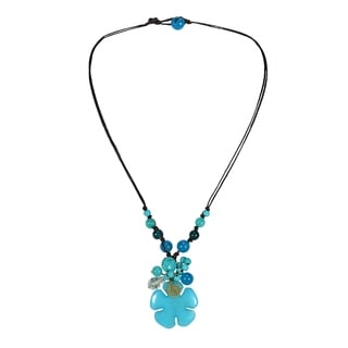 Floral Art Mix Stone Cotton Rope Necklace (Thailand)