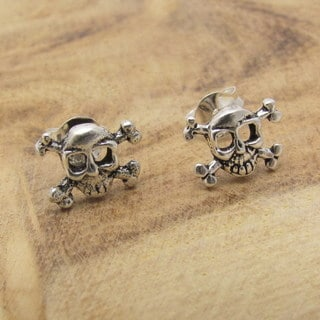 Petite Punk Skull Pirate Silver Stud Earrings (Thailand)