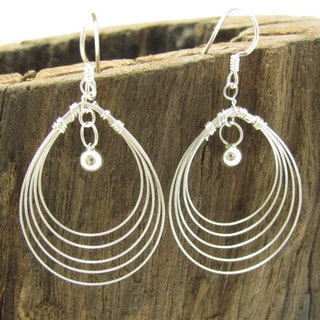 Trendy Multi Oval Wire Silver Dangle Earrings (Thailand)