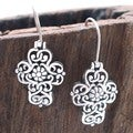 Filigree Swirl Cross Flower Sterling Silver Earrings (Thailand)
