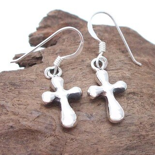 Cute Chunky Puffy Cross Sterling Silver Earrings (Thailand)