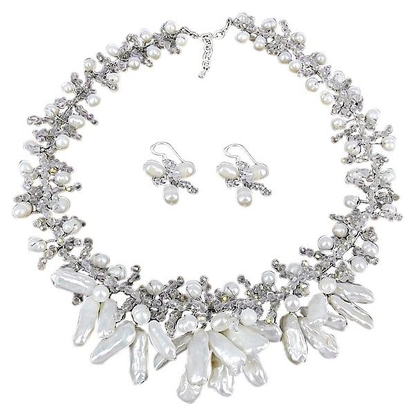 Freshwater Pearl Stick Floating Vines Jewelry Set (Thailand)