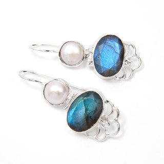 Handmade Silverplate Labradorite and Pearl Earrings (India)