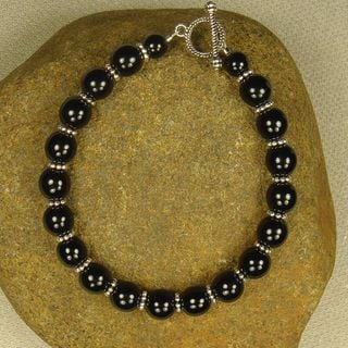 Black Glass And Pewter Bracelet