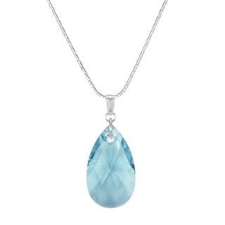 Large Aquamarine Pear Sterling Silver Boxed Chain Necklace