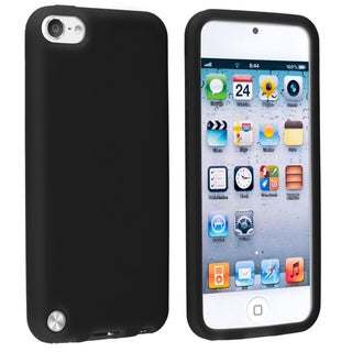 INSTEN Black Soft Silicone Skin iPod Case Cover for Apple iPod touch Generation 5