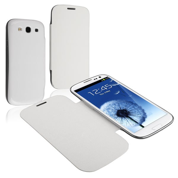 INSTEN White Leather Case Cover for Samsung Galaxy SIII/ S3