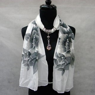 Black and White Floral Fashion Jewelry Scarf with Orchid Pendant in Purple Glass